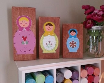 Matryoshka Russian Nesting dolls -  Nesting dolls - Hand painted