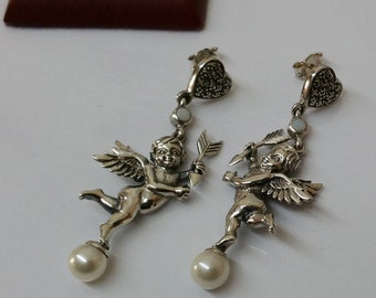 925 earrings Angel nostalgia pure handmade Markasiten Opal beads - a dream! SO214