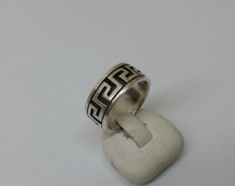 Ring Silver 925 meander pattern vintage SR663