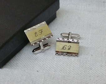 "Old cufflinks silver initials ""EF"" MS104"