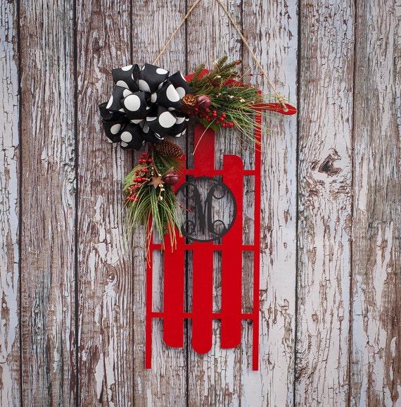 Christmas sleigh door hanging wooden decoration with