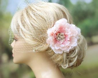 Blush Birdcage Veil Wedding Fascinator Wedding Hairstyles Bridal hair Bridal Headpiece Hair flower clip Ivory fascinator Bridal Hairstyles
