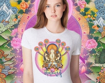 OM Mani Padme Hum MANTRA TEE Ladies shirt, Buddhist, Yoga, Meditate!