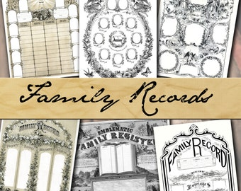 Family Record Pages, antique vintage Bible paper instant download printable 8.5x11 sheet birth death marriage gift form genealogy ancestry