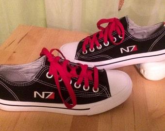 N7 Mass Effect Inspired Commander Shepard's Canvas Sneakers