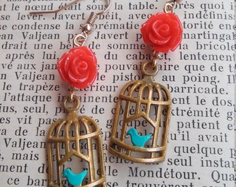 CAGED HEART - Miniature Bird Cage and Red Rose Earrings