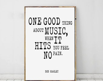 Bob Marley Printable Art Music Quote Reggae Poster Dorm Room Music Lover Typographic Quote Motivational Poster Instant Download Print