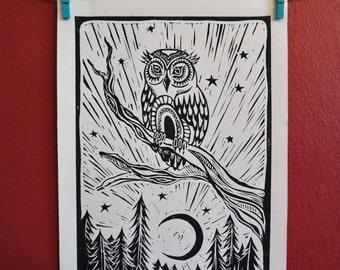Night Watcher- Owl Linocut Print