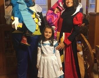 Womens Queen Of Hearts Halloween Costume Dress 3 Piece Set Evil Queen Custom Made