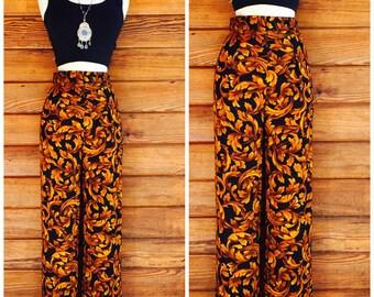 amsterdam palazzo pants / wide leg ankle pants / cropped pants / 90's high waist trousers / xs
