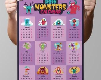 "INSTANT DOWNLOAD-Calendar 2016-Nature-Aliens-Beast-Mutant-Kids-Year 2016-Funny Monsters-Humor Monster calendar-3 sizes-8.5x11""-16x20""-No.393"