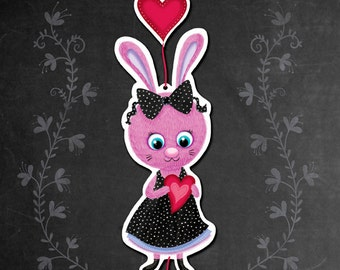 Valentine Bunny Paper Garland, Printable PDF, DIY paper decoration, Pink, Black and Red Hearts, Valentine Paper Decoration