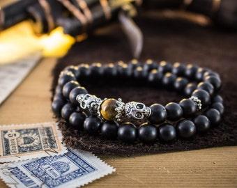 8mm - Double wrap matte black beaded bracelet with silver skulls and tiger eye, beaded stretchy bracelet, made to order yoga bracelet