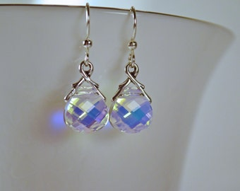 Aurora Borealis Swarovski Crystal Briolette Earrings, Crystal Earrings, Swarovski Earrings, Gifts for Her