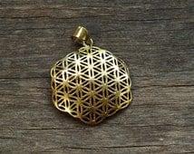 Hexagon Flower of Life Pendant Sacred Geometry Necklace Brass Jewellery Gypsy Tribal Boho Hippie Merkaba Jewelry