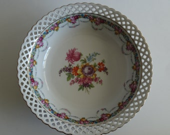 "Schumann Arzberg Bavaria Reticulated Pierced Serving Bowl Flowers 9.75""  c1930s"
