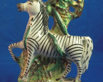 Staffordshire pottery black and white striped horse figurine bud vase, ca. 1870, great collector's item