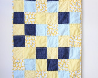 Blue yellow baby quilt - Floral baby quilt - Floral security blanket
