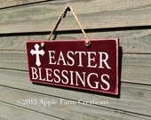 Distressed Wooden Easter Blessings Sign w/ Jute Cord; Red & White; Easter Sign; Rustic, Country, Primitive, Vintage, Farmhouse Antique Décor