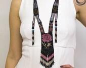 Vintage Beaded Flapper Necklace w/ Pink Rose & Fringe 1920s Art Deco Sautoir Woven Beadwork Necklace w/ Floral Pattern