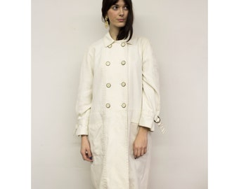 Vintage White Trench Coat w/ Brass & Resin Buttons 1960s Minimalist Mod Winter White Canvas Peacoat by Jerold L Lg Large