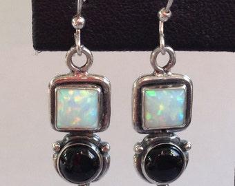 Sterling Silver Lab Opal and Onyx Pierced Earrings