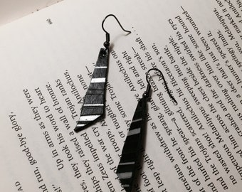 Asymmetrical Black Leather Earrings with Silver and Black Stripes