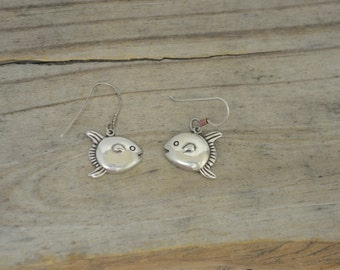 Blow fish earrings Vintage sterling silver earrings - fish earrings - sterling silver fish - fun earrings - unique jewelry LZ1487