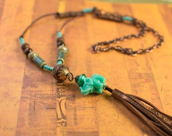 Long Leather and Chain Necklace With Cute Elephant and Tassel