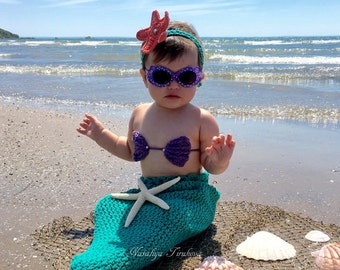 Crochet Baby Mermaid Outfit/Ariel costume/Baby Mermaid Costume/Mermaid Tail/Baby Mermaid prop/Baby Mermaid Costume/Toddler Mermaid Costume