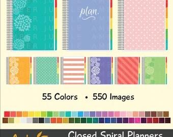 Planner Clipart- Closed Spiral Planner Clip Art for Planner Stickers- Erin Condren ECLP EC Digital Printable Bound Day Life Instant Download