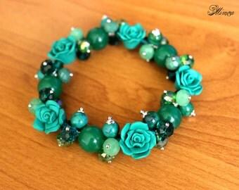 Green Aventurine Bracelet, Romantic Bracelet, Aventurine Bracelet, Green Bracelet, Flower Bracelet, Green Rose Bracelet, Bridesmaid Bracelet