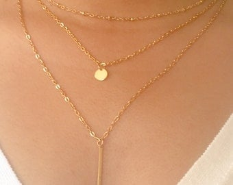 Layered Necklace set / bar coin / chain charm