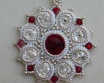 Beaded Tutorial, Pendant Pattern, Instuctions, Beadweaving, Jewelry, DYI, Jasmine, Rivoli, Swarovski, PDF, Digital Download