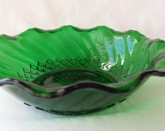 Emeral Green Glass Bowl, Vintage Green Glass Serving Dish,  #10