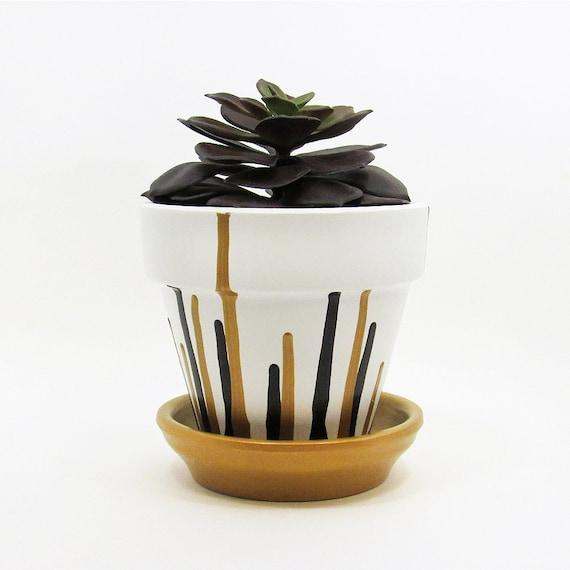 Terracotta Pot Succulent Planter Cute Planter Gold Black