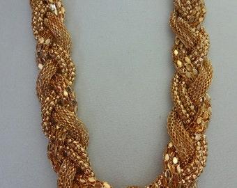 Vintage 1980s Gold Plaited Necklace, Statement Gold Necklace, Braided Necklace, Gold Chain Necklace, Plaited Gold Necklace