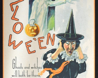 Halloween Postcard Witch Ghost Holding JOL Nash Publishing H-428 Orange Black Contrast
