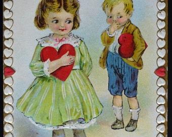 Valentine Postcard Stetcher Series Children Hearts