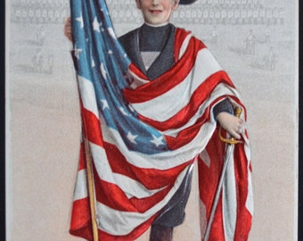 Patriotic Postcard Flag Series Boy American Flag 715