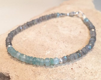 Beautiful blue and gray bracelet made with apatite and labradorite beads, Hill Tribe silver beads, silver beads and a silver trigger clasp