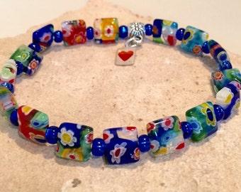 Multicolored bracelet, square glass bead bracelet, Czech seed bead bracelet, strentch bracelet, elastic bracelet, charm bracelet heart charm