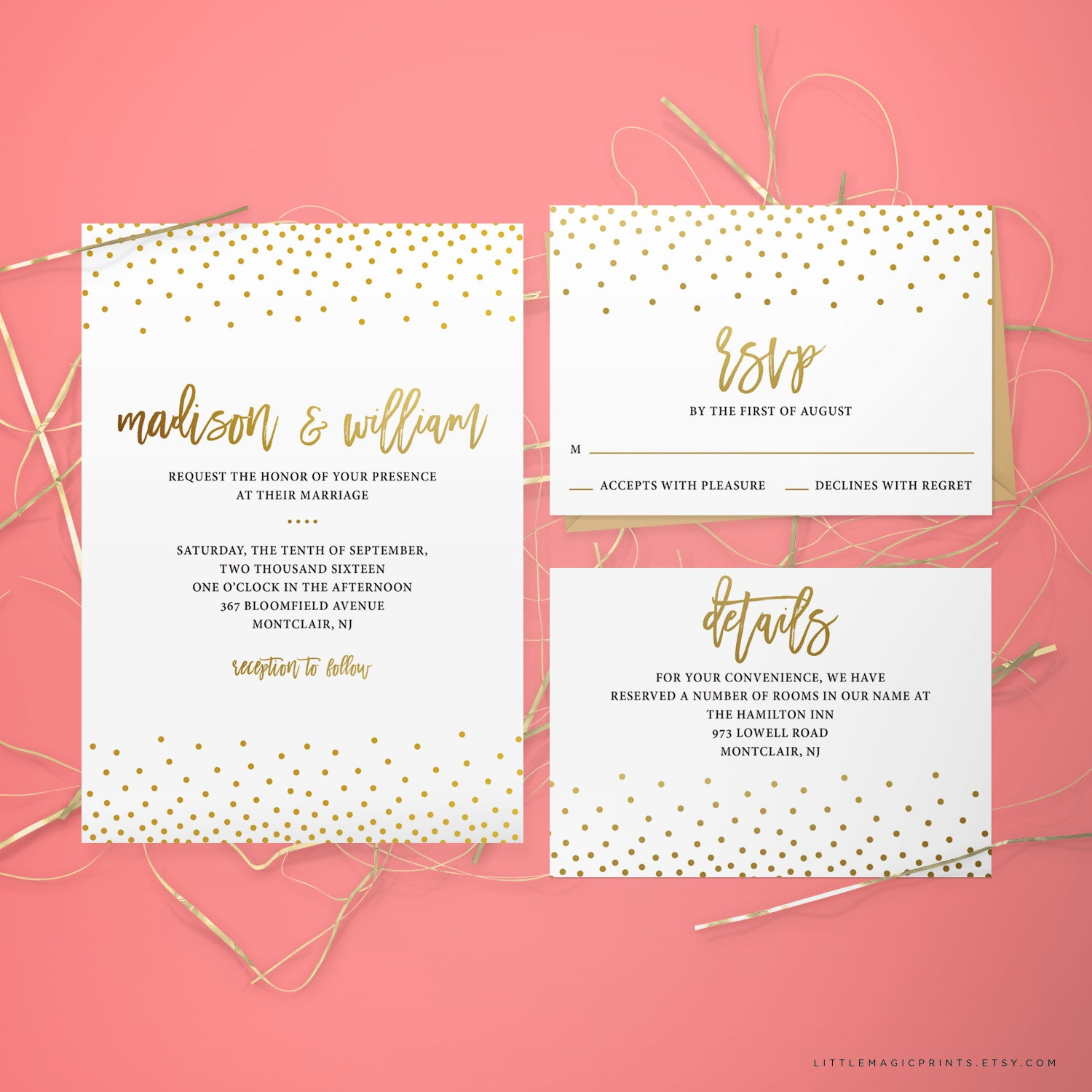 Printable Wedding Invitation Package By Littlemagicprints