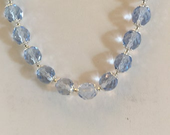 Light Blue Crystal Beaded Necklace