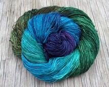 Enchanted Forest - High Twist Silk + Superwash Merino Sock Yarn - Hand Dyed Sock Yarn - Hand Dyed Yarn  Fingering Yarn  blue yarn green yarn