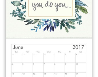 2017 Illustrated Wall Calendar - Monthly Calendar - Art Wall Calendar - 2017 Inspirational Calendar - Quotes Calendar - Mental Health