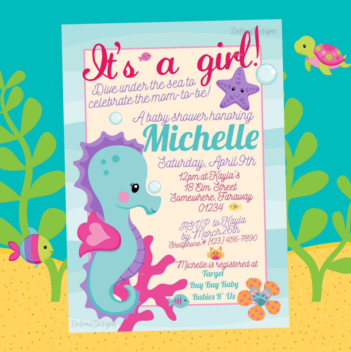 it 39 s a girl under the sea seahorse baby shower invitation