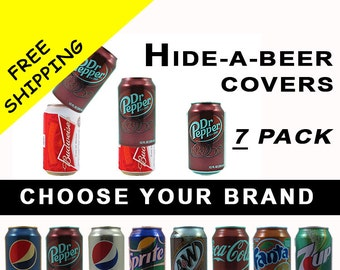 7 PACK Hide A Beer Can Soda Covers Camo Wrap Sleeve Disguise Drinking Game Golf Boating Fishing Tailgating Pool