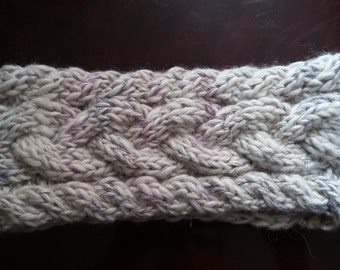 Cable Knit Headband made of Natural White Alpaca blended with cotton-linen multicolored  string.