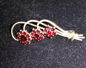 Vintage Silver and Ruby Brooch